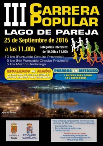 iii carrera popular lago de pareja 2016